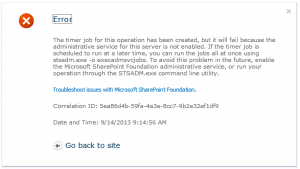 Microsoft SharePoint Foundation Administrative Service Error